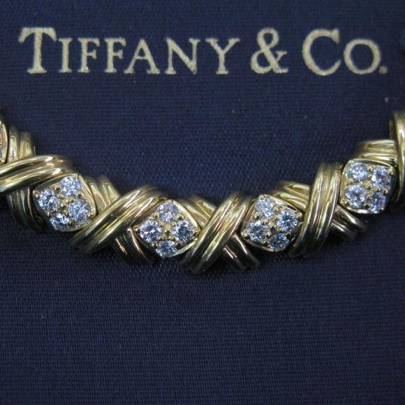 80230f583 Tiffany & Co. Jewelry | Tiffany Co 18kt Signature Diamond X Bracelet ...